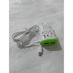 Ш1874 Зарядка с проводом 2 USB фонарик 2А