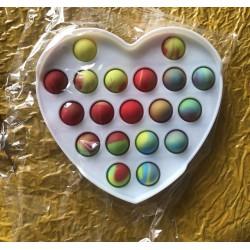 Ш2150 Поп ит игрушка-антистресс цветная на пластмассе Сердце